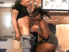 Ebony chubby lady vixen takes care of dick
