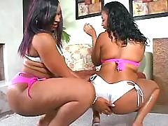 Appetizing black chubby woman goes naughty